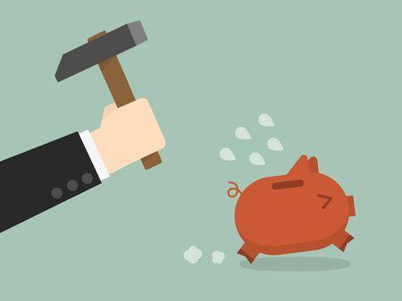flee: businessman try to brake piggybank Illustration
