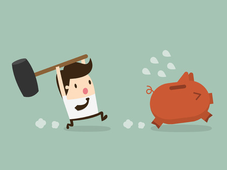 budget: businessman try to brake piggybank Illustration