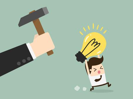 breaking: Hand breaking light bulb