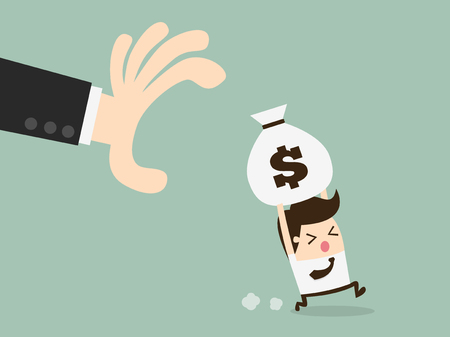 properties: hand grabbing money bag Illustration