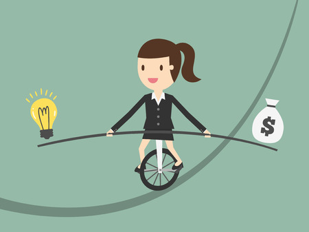 Business woman balancing on the rope with ideas and money