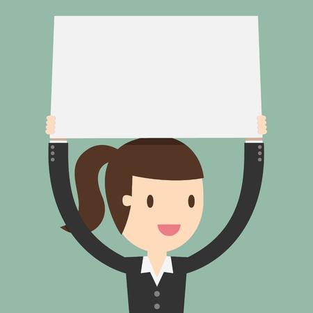 大きな白紙の頭の上に保持している若いビジネス女性