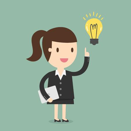 obrero caricatura: Mujer de negocios tener una idea