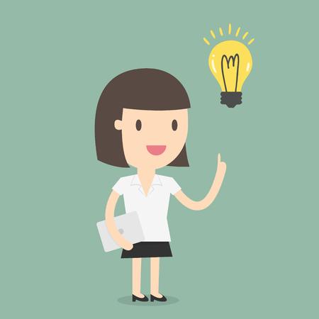 personas pensando: Mujer de negocios tener una idea