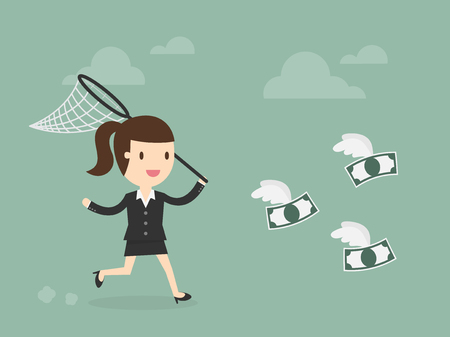 butterfly net: Business woman trying to catch money Illustration