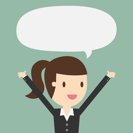 Young business woman with speech bubble Illustration