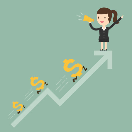 Business woman with graph and dollar signs Illustration