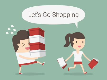 niña: Ir de compras, eps 10 ilustración vectorial Vectores