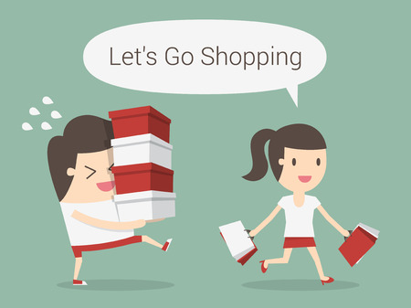 young girl: Shopping, eps 10 vector illustration