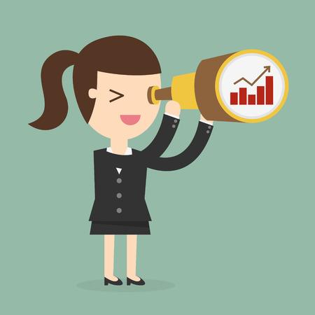 mujer mirando el horizonte: Mujer de negocios que mira el futuro Vectores