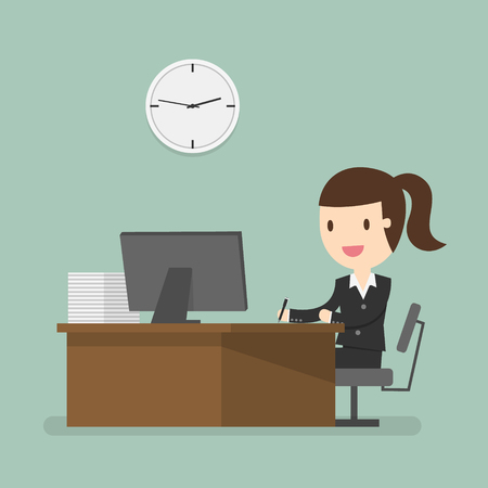 well dressed woman: Business woman working in office hour