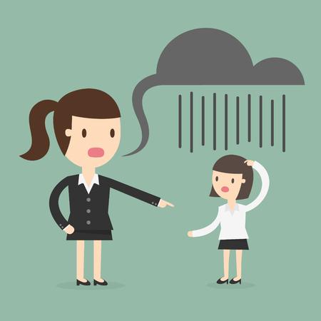 mujeres juntas: jefe gritando a un empleado Vectores