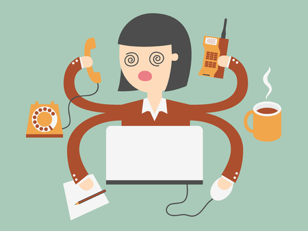 has: business woman has very hard work Illustration