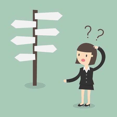 confundido: Confusa, mujer de negocios delante de una elección Vectores