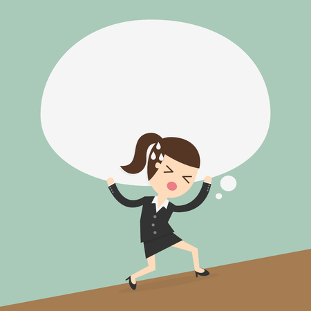 femme d'affaires porte la grande bulle de réflexion Vecteurs