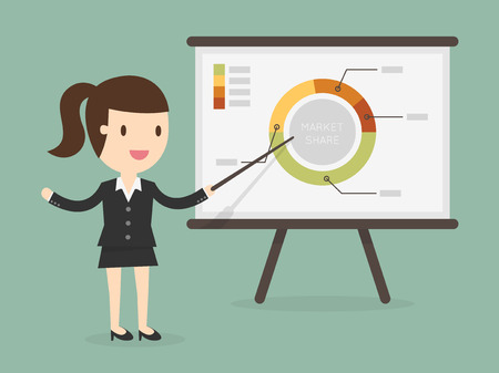 business woman pointing at a chart board Vectores