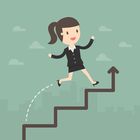 woman run: Business Woman run on a Business Growth Chart