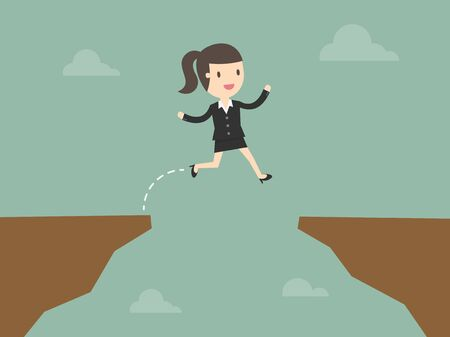 woman jump: business woman jump through the gap