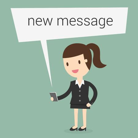 Mujer de negocios la lectura de un mensaje de texto Ilustración de vector