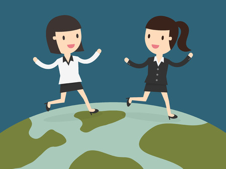 two business women running together on globe