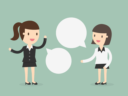 personas comunicandose: Dos mujeres de negocios que discuten Vectores