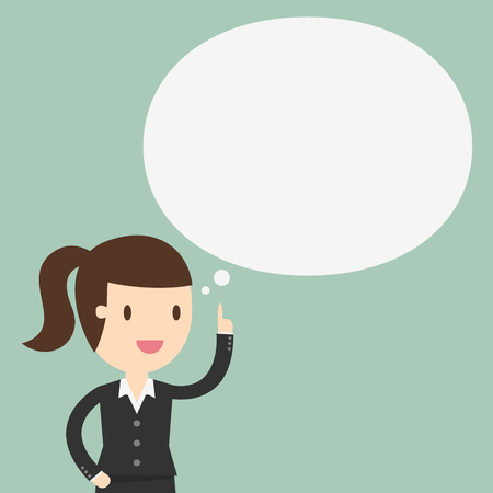Thinking, business woman with a empty speech bubble over her head