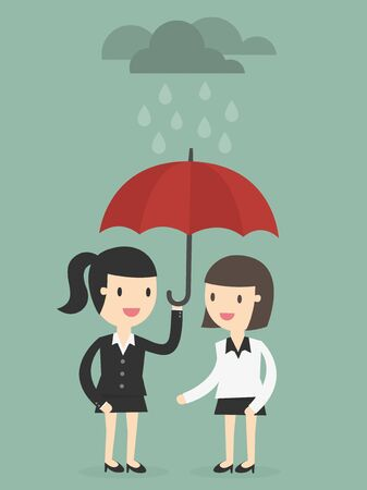 protects: business woman with umbrella protects another woman from rain
