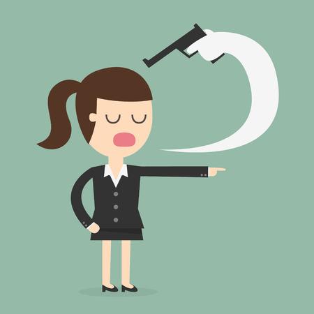 personne en colere: femme d'affaires tuer elle-même avec le sien mot Illustration