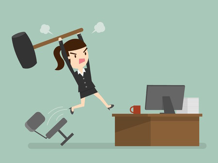 frustration: Furious frustrated business woman hitting the computer Illustration