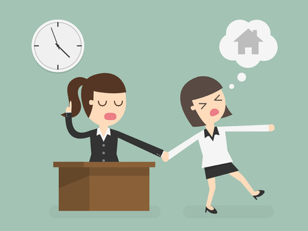 time clock: Salary man working overtime, Overload