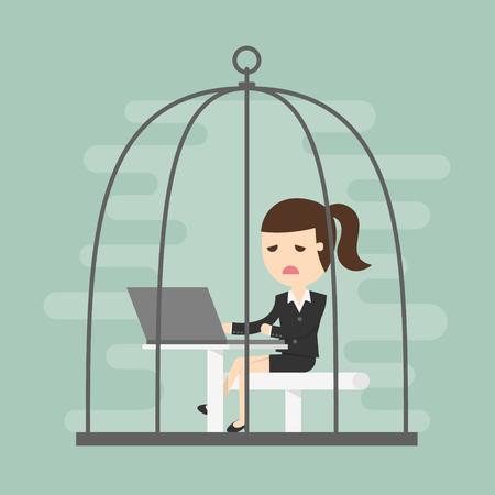 trabajando duro: Mujer de negocios aburrida que trabaja en la jaula de pájaros