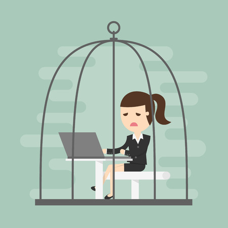 Bored business woman working in birdcage