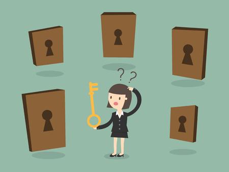 choosing: Business woman choosing the right door Illustration