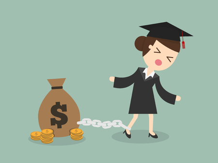 loan: woman want to graduate as make debt Illustration