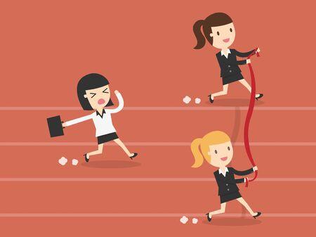 finishing line: Business woman reaching the finishing line