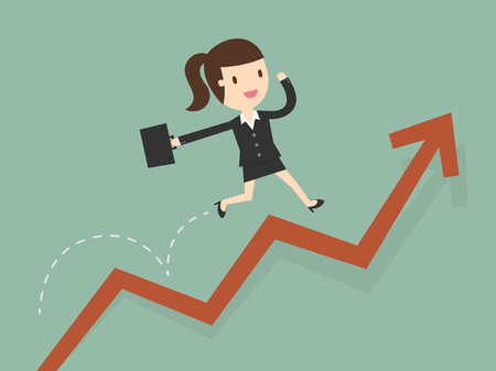 business woman jump over growing chart Çizim