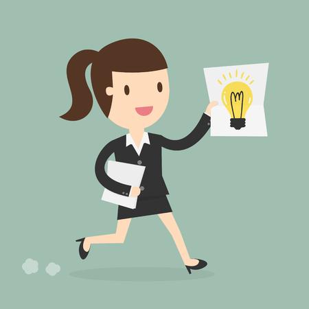 has: business woman showing she has an idea