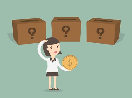 어디에 투자 할 것인가?, 비즈니스 여성이 투자를 선택한다.