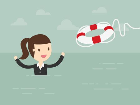 life preserver: Business Woman With Life Preserver