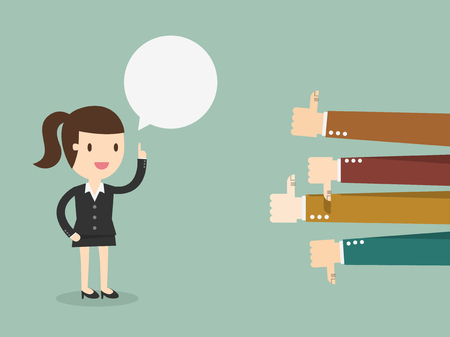 Feedback, business woman talking and positive and negative concepts with thumbs up and down Illustration