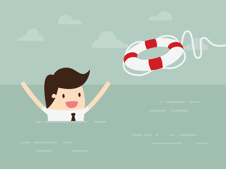 rescue: Businessman With Life Preserver