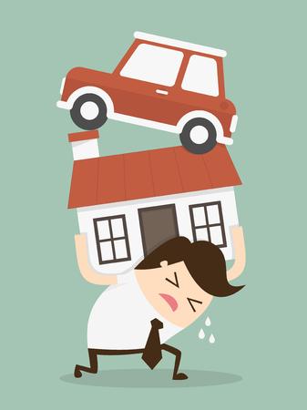 family support: Debt. Cartoon Vector Illustration Illustration