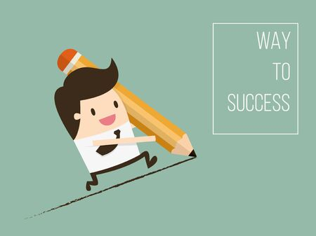 Way To Success, Concept of Business Opportunity. Flat Design Cartoon Vector Illustration