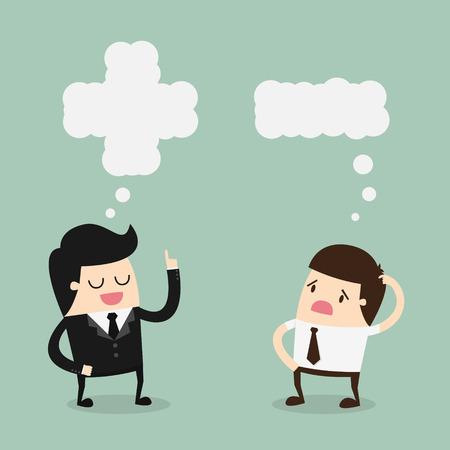 actitud: Pensamiento Positivo y Negativo. Ilustración vectorial de dibujos animados