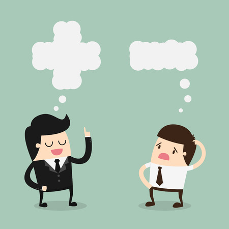 people attitude: Positive and Negative Thinking. Cartoon Vector Illustration