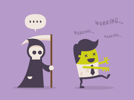 busy office: Workaholic. Cartoon Vector Illustration
