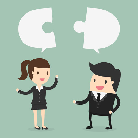 businessman and Business woman discuss their work Illustration