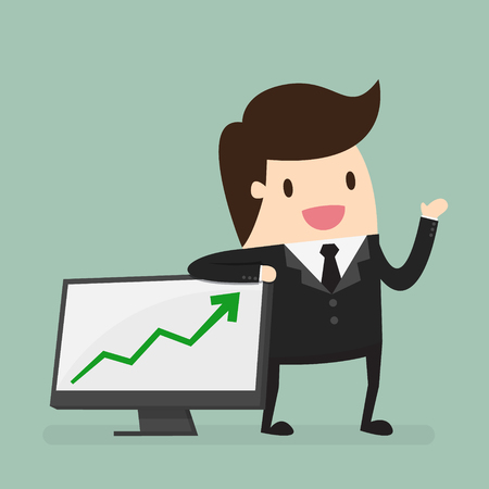 increase business: Businessman Presenting Business Growth Chart