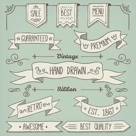 decoration elements: Hand Drawn Scroll Elements and Page Decoration Illustration