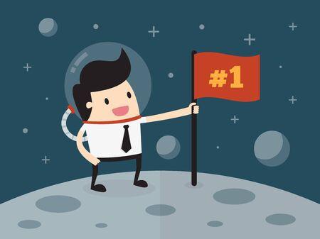 no1: Businessman planting flag on moon Illustration